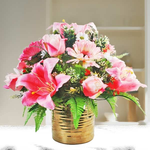 Pink Lily Roses Artificial Floral Arrangement Order Flowers