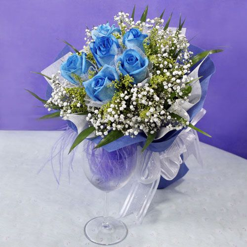 Bluely Blue Roses Singapore Free Delivery Hand Bouquet