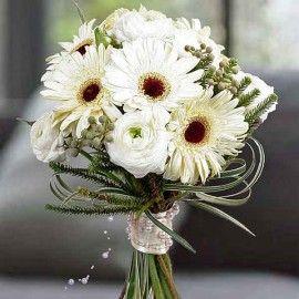 White Ranunculus & Gerbera Flowers Hand Bouquet