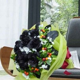 12 Artificial Black Roses Hand Bouquet Delivery In Singapore