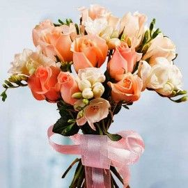 12 champagne Roses With Freesia Bouquet (3 Days Advance Order)
