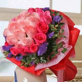 12 Peach & 18 Hot Pink Roses Hand Bouquet
