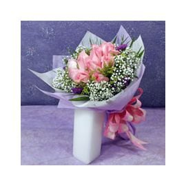 12 Peach Roses Hand Bouquet