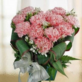 12 Pink Carnations Heart-Shape Table Arrangement in Plastic Cont
