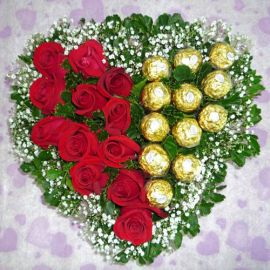 12 Red Roses with 12 Ferrero Rocher Heart-Shape Table Arrangement