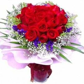 24 Red Roses Hand Bouquet in a glass vase