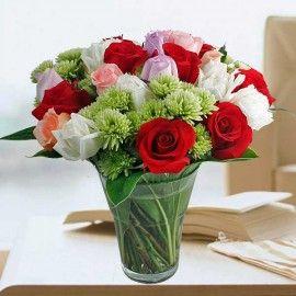 30 Mixed Roses In Glass Vase Arrangement