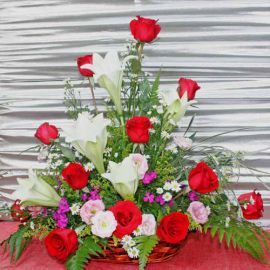 5 Lily with 12 Red Roses Table Arrangement