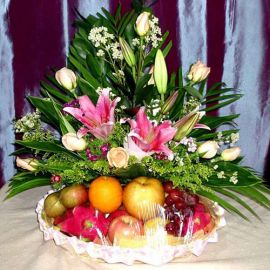 8 Champagne Roses with Pink Lily and Fruits Basket Arrangement