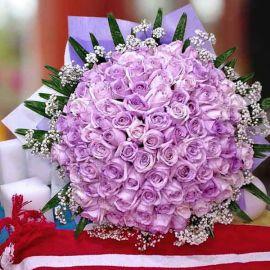 99 Purple Roses Hand Bouquet