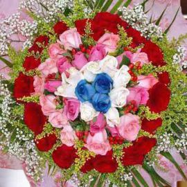 99 Roses ( 3 Blue 10 white 40 peach 46 red ) Hand bouquet