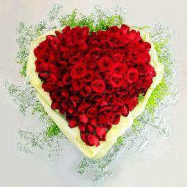 99 Red Roses Heart-Shape Handbouquet