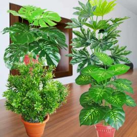 """4 Assorted Small Artificial Plants 18"""" Height"""