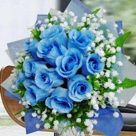 Artificial Blue Roses Hand Bouquet