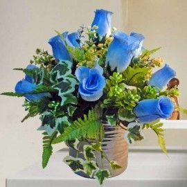 Artificial Blue Roses Table Arrangement