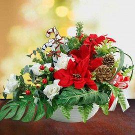 Artificial Poinsettia Christmas Arrangement