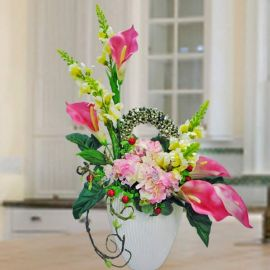Artificial Calla Lily and Hydrangea Arrangement.
