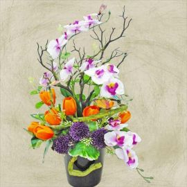 Artificial Phalaenopsis Orchid With Butterfly Arrangement