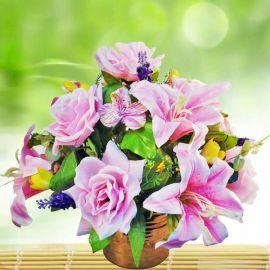 Artificial Pink Roses & Lilies Flowers Table Arrangement