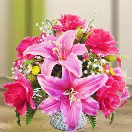 Artificial Hot Pink Roses & Lilies Flowers Table Arrangement