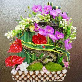 Artificial Phalaenopsis Orchid Table Flowers Arrangement