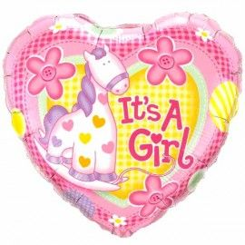 "Add On Horsie ""It's A Girl!"" Balloon (Heart-Shaped)"