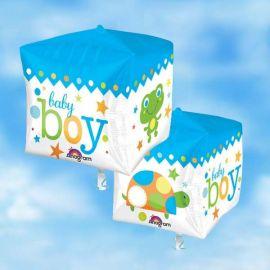 Add On 3-D Cube Baby Boy Helium Balloon 38cm