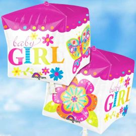 Add On 3-D Cube Baby Girl Helium Balloon 38cm