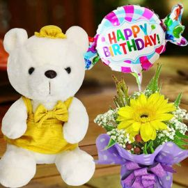 Yellow Skirt Bear, Happy Birthday Balloon & Gerbera Standing Bouquet