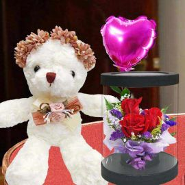 18cm Bear and a Heart-Shape Balloon with 3 Red Roses Standing Bouquet.
