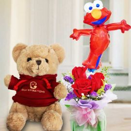8 Inches Teddy Bear In Red Sweater and 9 inches Elmo Balloon with 3 Red Roses Standing Bouquet.
