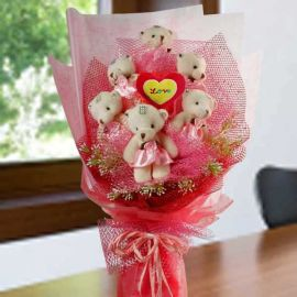 6 Mini Bear With Heart Shape Tag in the Ctr Hand Bouquet