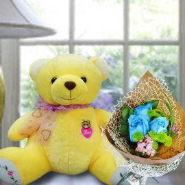 30cm Bear with Blue Roses Hand Bouquet