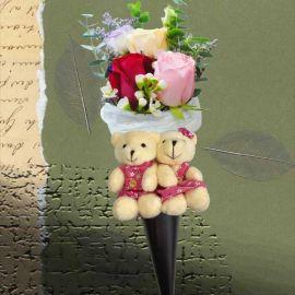 30cm Love Bear & Ice Cream Cone Rose Bouquet
