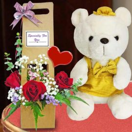 Yellow Skirt Bear with 3 Red Roses Arrangement can be carry by hand