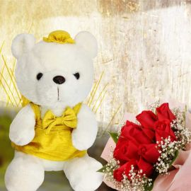 Red Roses Posy With 25cm Yellow Skirt Bear