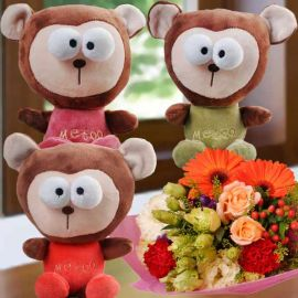 Choose One (Me Too ) Bear 18cm with Flower Bouquet