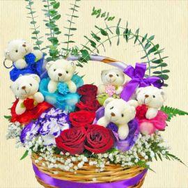6 Mini Bears & 5 Red Roses Arrangement in Basket
