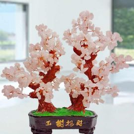 Natural Rose Quartz Crystal Gems Stone Bonsai 30cm Height