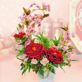Golden Fortune Artificial Chinese New Year Flowers Arrangement