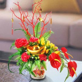 Artificial Ingot Chinese New Year Flowers Arrangement