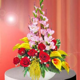 Artificial Cala Lily & Red Roses Table Arrangement