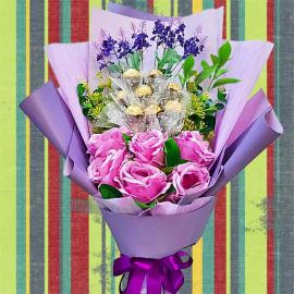 8 Rocher & 6 Purple Artificial Roses Delivery