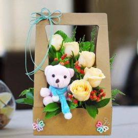 5 Champagne Roses with Bear Table Arrangement