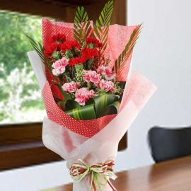 6 Red 6 Pink Carnation Hand Bouquet