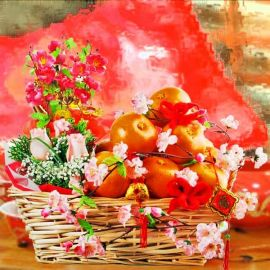 Prosperity Friendship Chinese New Year Oranges Gift Basket