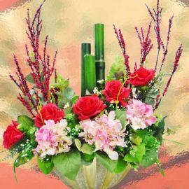 Lunar New Year Artificial Bamboo & Hydrangeas Everlasting Flower