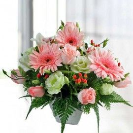 Pink Roses & Gerbera Table Arrangement