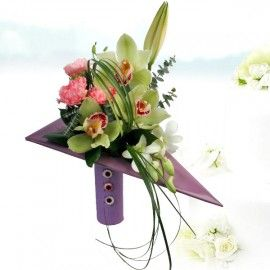 Cymbidium Orchids Triangle Design Bouquet