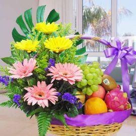 Mixed Gerberas and Fruits Arrangement